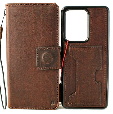Genuine Leather case for Samsung Galaxy S20 Ultra Book Wallet soft Removable luxury slots rubber Window Detachable Holder Wireless Charging Dark