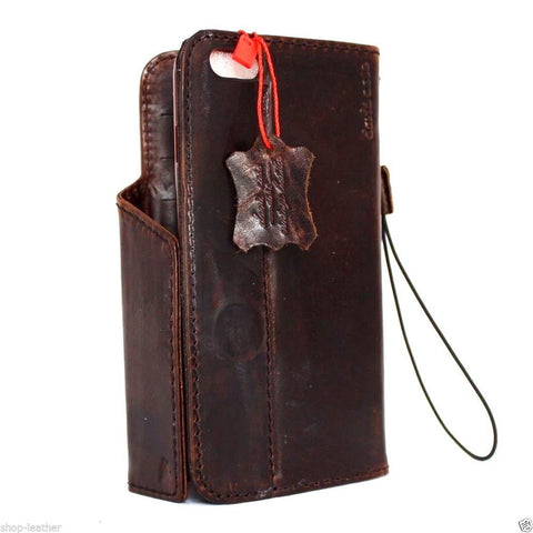 genuine vintage leather Case fit apple iphone 6 plus book wallet cover magnet 6s