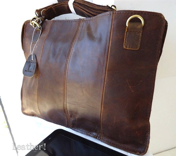 Genuine vintage Leather handBag for Business for tablet retro style new classic brown