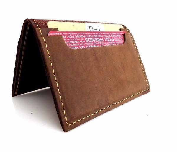 Men's Natural Soft Leather Credit Card Case 4 Slots 2 Slip Pockets Bifold Slim mini wallet classic brown daviscase