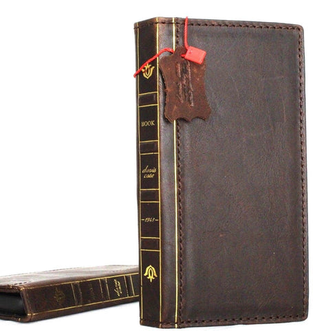 Genuine vintage leather Case for Samsung Galaxy S9 Plus book wallet bible strap cover cards slots Jafo wireless charging custome Dark