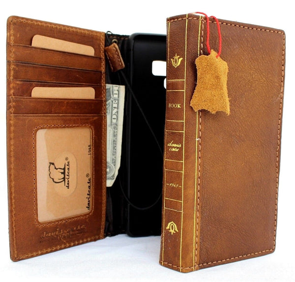 Genuine leather case for samsung galaxy note 9 book bible wallet cover Tan vintage cards slots slim wireless charging daviscase