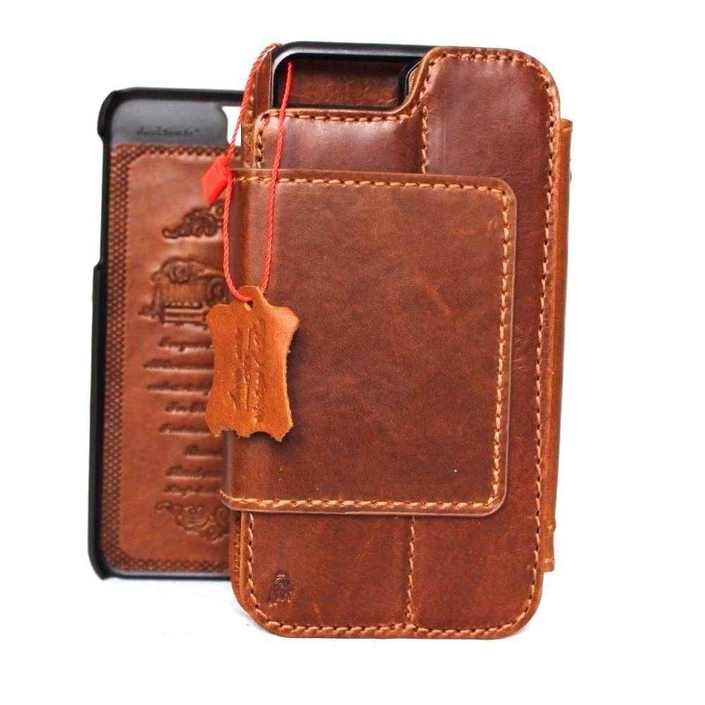 new styles 36027 65d84 Genuine Leather Case for iPhone 8 Plus book wallet cover Cards slots Slim  vintage Removable detachableb brown Daviscase
