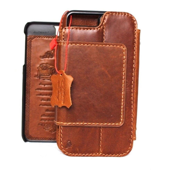 Genuine Leather Case for iPhone 8 Plus book wallet cover Cards slots Slim vintage Removable detachable brown Daviscase