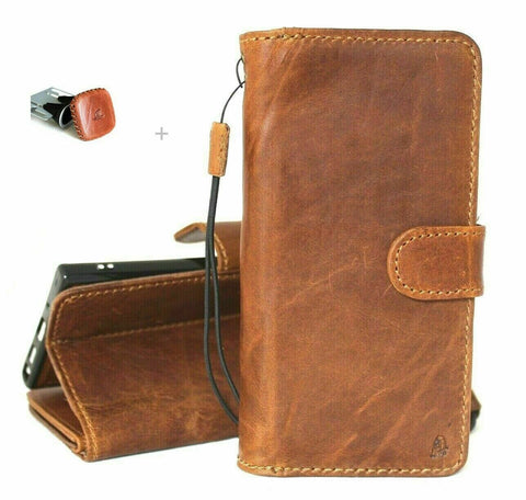 Genuine Tanned Leather Case for Samsung Galaxy Note 20 5G book wallet Removable cover Cards window Magnetic stand slim Luxury Note 20 + Magnetic Car Holder Davis