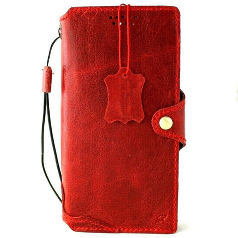 Genuine Full Leather Case for Samsung Galaxy S21 Ultra 5G Book Credit Cards Wallet Handmade Rubber Holder Cover Wireless Red Davis