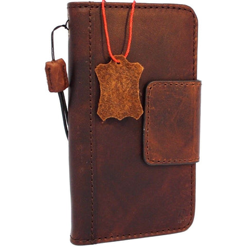Genuine vintage leather Case for LG V30 book wallet magnet closure cover slim brown cards slots handmade daviscase
