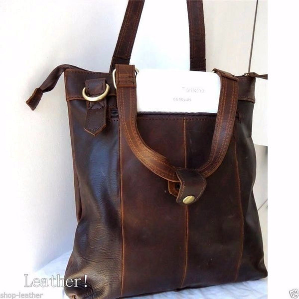 REAL Leather Bag Messenger iPad LAPTOP Genuine Brown vintage dark classic new