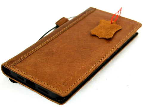 Genuine Full Tan Leather Case For Apple iPhone 12 Pro Max Book Wallet Vintage ID Window Credit Cards Slots Soft Cover Full Grain DavisCase