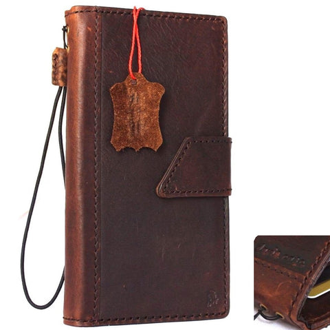 genuine Leather Case for iPhone 8 Plus book wallet cover Cards slots Slim vintage magnetic brown Daviscase