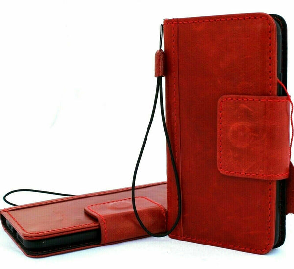 Genuine leather for apple iPhone 11 Pro case cover vintage wallet credit cards magnetic holder book luxury Red slim wireless charging