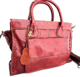 Genuine natural leather woman bag design dark red purse Vintage tote Handbag lady