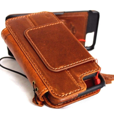 Genuine Leather Case for iPhone 7 Plus book wallet cover Cards slots wristlet Slim vintage Removable detachableb brown Daviscase