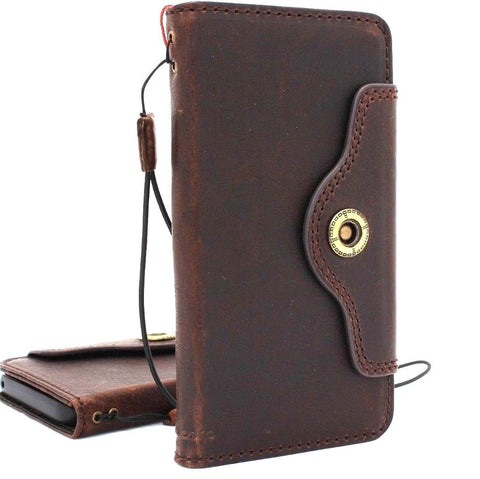 Genuine vintage leather Case for Samsung Galaxy S9 Plus book jafo wallet cover cards slots strap daviscase support wireless charger