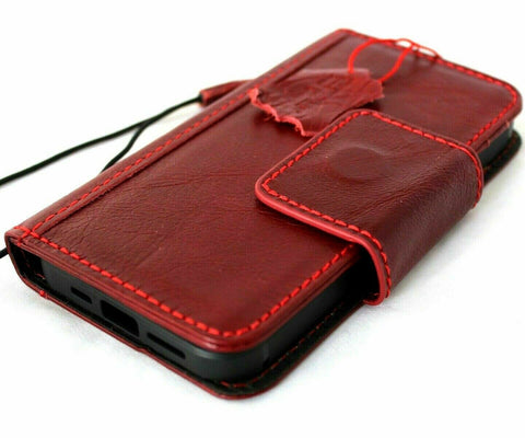 Genuine Red Leather Case For Apple iPhone 12 PRO Book Wallet Vintage Style Credit Cards Soft Closure Cover Top Grain DavisCase