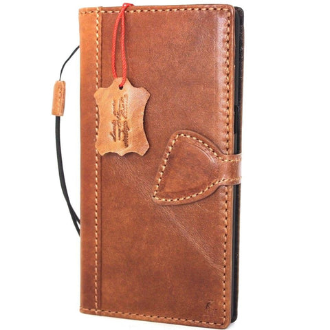 Genuine vintage leather case for samsung galaxy note 8 book wallet magnet closure cover cards slots brown slim D daviscase