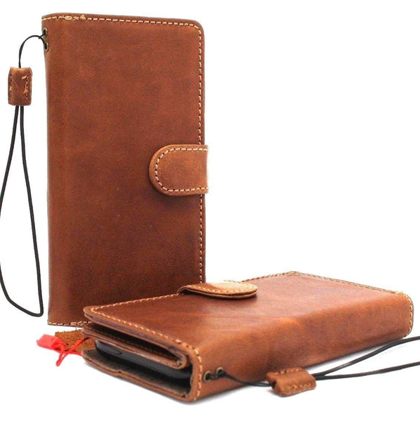 Genuine leather Case for Samsung Galaxy S9 book wallet cover Cards Removable detachable id window vintage Tan luxury slim magnetic