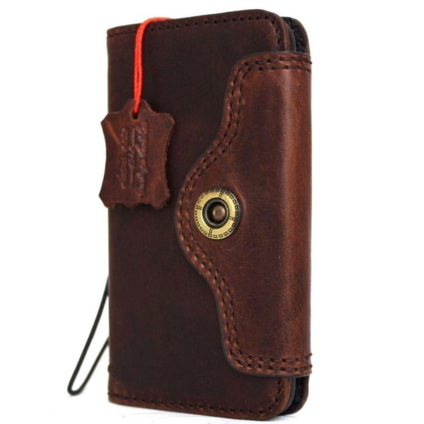 Genuine Full Leather Case For iPhone 8 Cover Book Wallet Cards Slim Davis Classic Art Wireless Charging Vintage Style Luxury