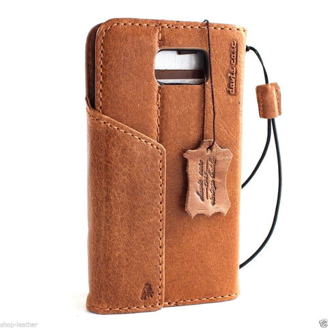 genuine real leather Case  for Samsung Galaxy note 5 book wallet magnet cover luxury vintage light brown slim daviscase