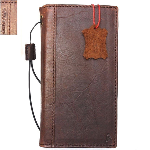 Genuine vintage leather case for samsung galaxy note 8 book wallet cover cards slots brown slim daviscase