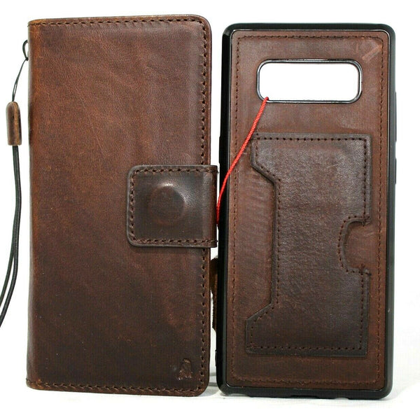 Genuine Real Dark Leather case for Samsung Galaxy NOTE 8 book wallet cover Soft Vintage cards slots slim Wireless Charging Daviscase