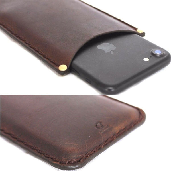 genuine leather Case for apple iphone 7 plus / 6 plus / iphone 6s plus thin classic cover slim holder brown daviscase