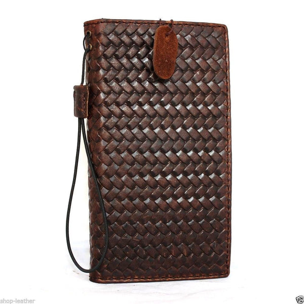 genuine real vintage leather Case For sony Xperia Z3 book wallet cover handmade cards slots slim brown daviscase