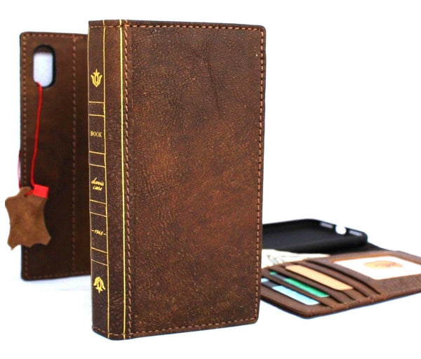 Genuine Oiled Leather for Apple iPhone XS MAX Case Cover Wallet Credit Cards Soft holder Bible Tanned book Vintage slim Jafo