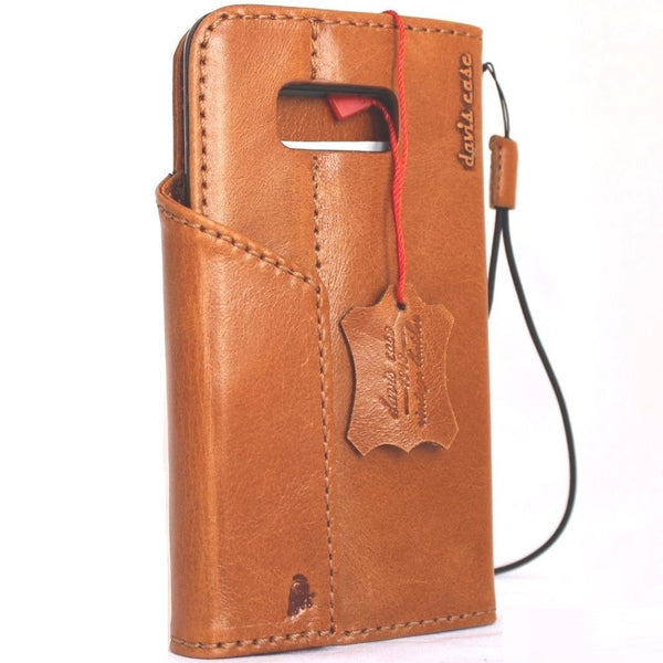 Genuine natural leather Case for Samsung Galaxy S8 book wallet magnetic hand made cover s Businesse daviscase 3d