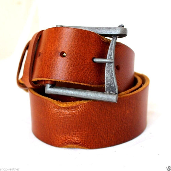 Genuine vintage Leather belt 43mm Waist handmade classic bright brown retro 70S size S