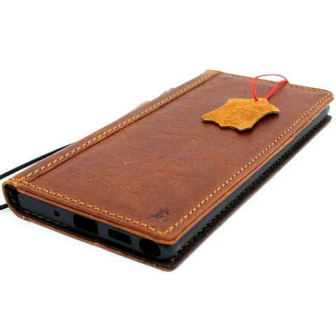 Genuine Real Leather case for Samsung Galaxy Note 10 Plus book Slim Holder Slots Rubber Stand ID Window Jafo Wireless Charger