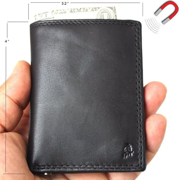 Men's Genuine Leather mini Wallet maximum slim Cards Slots coins zipper magnetic black daviscase soft