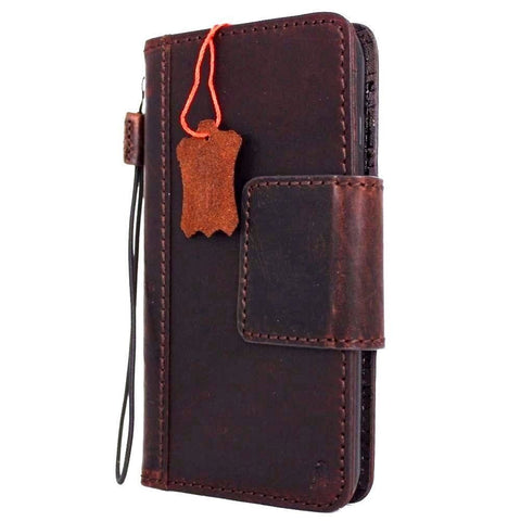Genuine full leather case for iPhone 8 cover book wallet cards magnetic slim Davis classic Art Wireless charging