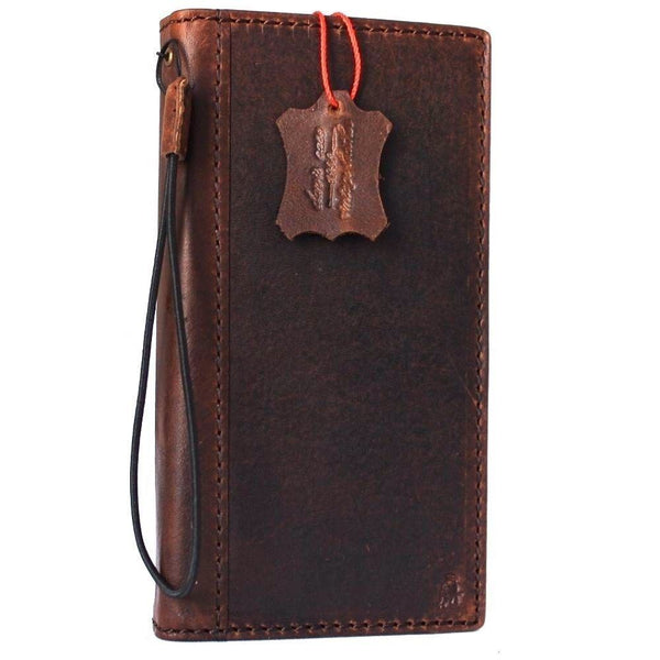 Genuine real leather Case for Oppo R11 book wallet cover Cards slots id cover hand made Art dark brown slim daviscase