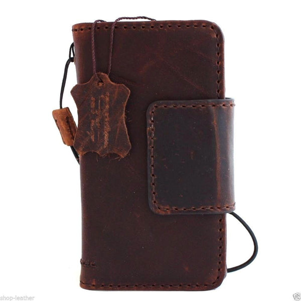 genuine vintage italian leather hard Case  for sony Xperia Z5 Compact book wallet 5 z handmade UK