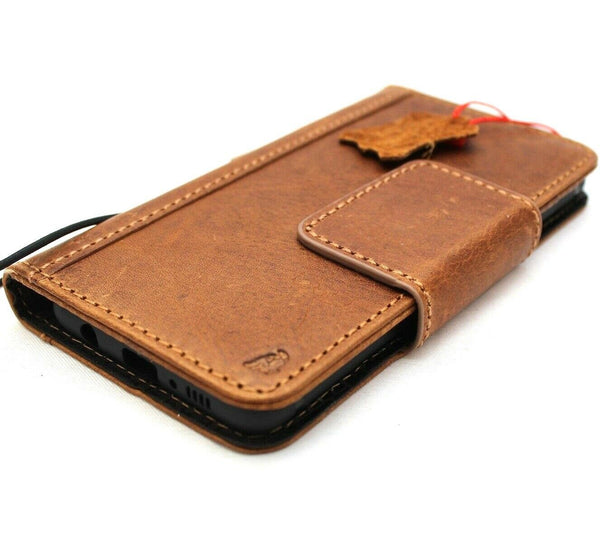 Genuine leather Case for Samsung Galaxy S10 book wallet cover Cards wireless charging window luxuey magnetic Tan slim daviscase