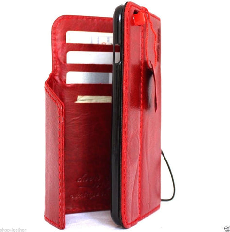 genuine OIL leather case for iphone 6s plus cover book wallet band credit card id 6 s + magnet business Red  au daviscase