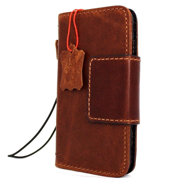 Genuine vintage leather iPhone 7 magnetic case cover wallet credit holder book luxury Rfid Pay