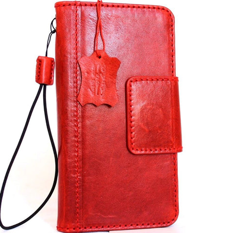 Genuine vintage leather case for Samsung Galaxy NOTE 8 book wallet magnetic closure Red cover cards slots slim Daviscase
