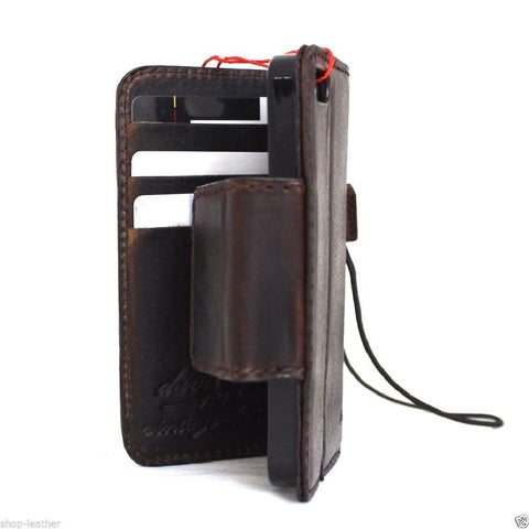 genuine full leather case for iphone SE 5s 5c book wallet cover handmade magnet bracket