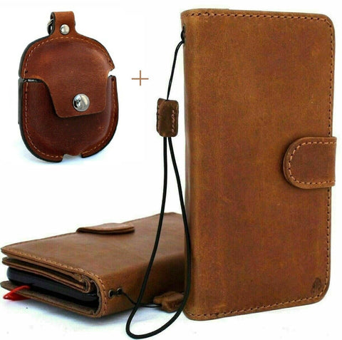 Genuine Real Leather For Apple  iPhone 11 Case Cover Wallet Credit Holder Magnetic Book Tan Removable Detachable Prime Holder Vintge + Airpods 2