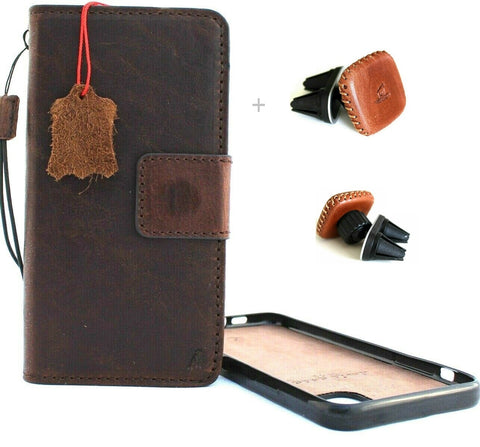 "Genuine natural leather case for Apple iPhone 11 PRO MAX (6.5"") Cover Wallet Credit cards Holder Magnetic Book Rubber Detachable Prime Soft Dark Brown + Magnetic Car Holder"