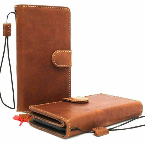 Genuine Tanned Leather Case For iPhone SE 2 2020 Detachable Cover Book Wallet Card ID Magnetic Business Soft Removable Rubber Holder Strap Davis SE2