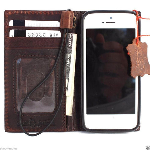 genuine vintage leather case for iphone 5 5s 5c SE book wallet cover retro style
