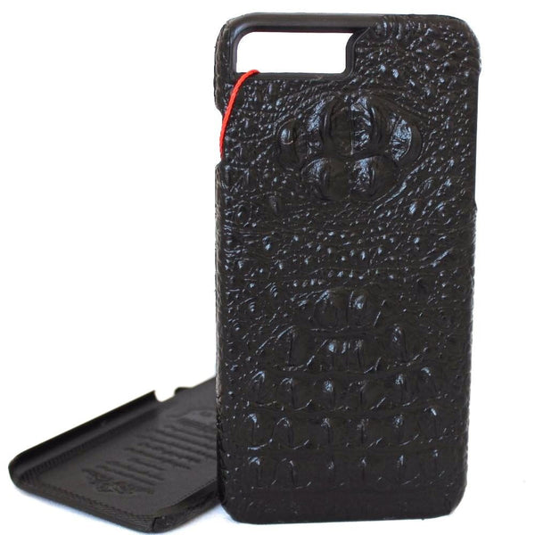 Genuine REAL cow leather iPhone 7 plus case cover black wallet  holder luxury crocodile Design