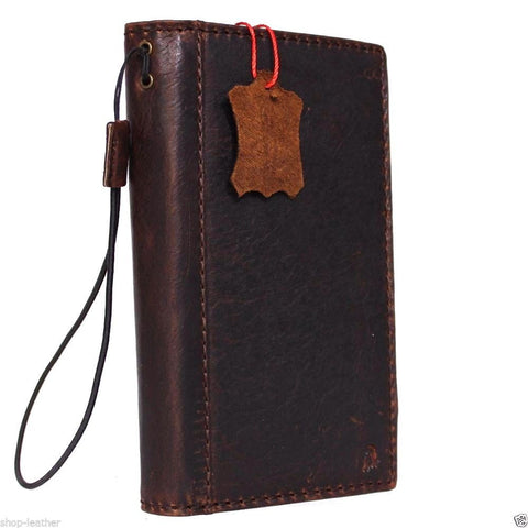 genuine italian leather case for Microsoft lumia 950 xl book wallet slim cover credit card brown luxurey daviscase