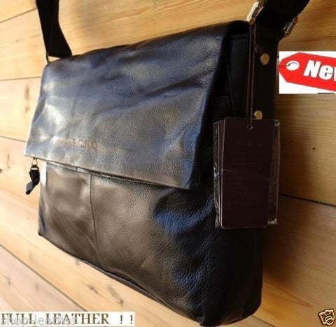 Genuine Leather Shoulder Bag Messenger black real handbag classic vintage 14 15