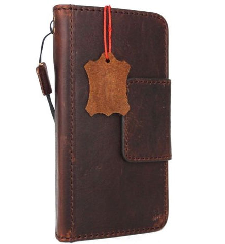 Genuine Leather Case for iPhone XS book wallet magnet closure cover Cards slots Slim vintage brown Daviscase