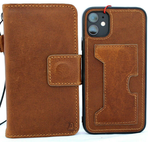 Genuine Real Leather case For Apple iPhone 11 Cover Wallet Credit cards ID window Holder Book Tan Removable Prime Holder soft Jafo 48 Wireless charging