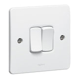 Synergy White - 2 gang 1 way switch  - Legrand 730024
